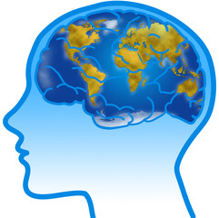 Profile and visible brain with world planisphere