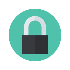 Flat closed padlock icon over green