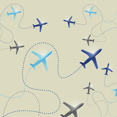 set of airplane routes illustration