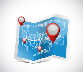 locator pointers blueprint illustration design