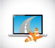 laptop and internet road illustration design