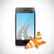 phone and internet road illustration design