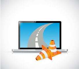 laptop and internet road illustration design