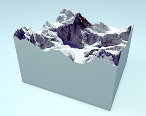 K2 spaccato sezione. Montagna Himalaya