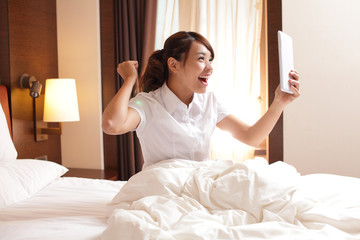 business travel woman with digital tablet