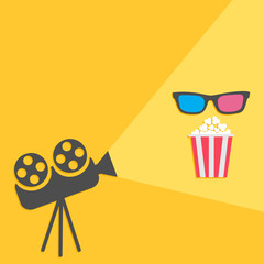 Cinema projector with light and popcorn 3D glasses Flat