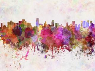 Honolulu skyline in watercolor background