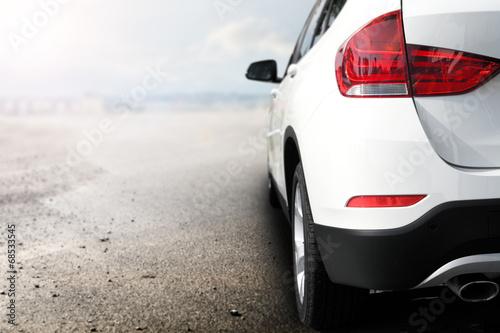 obraz PCV biały samochód