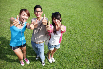 happy students in campus
