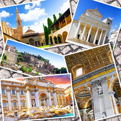 Collage of beautiful Italy. Rome,  Florence, Pisa, Venice