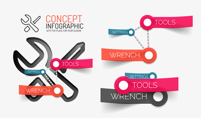 Setting tools infographics with keywords