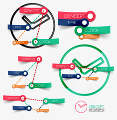 Vector clock infographic and keywords