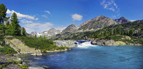 lake and waterfall in Altai