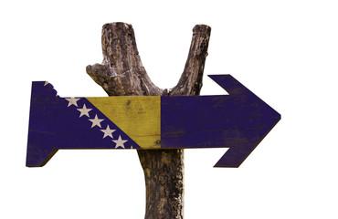 Bosnia and Herzegovina wooden sign isolated on white background