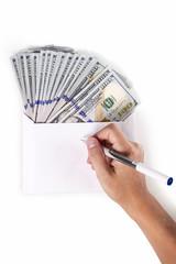 Hand envelope money pen