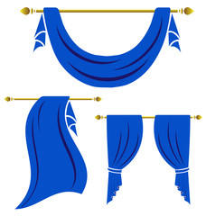 Blue curtain vintage vector set on white background