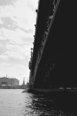 View from water on bridge in saint petersburg, Russia