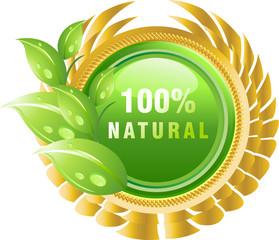 100% Natural stiker vector
