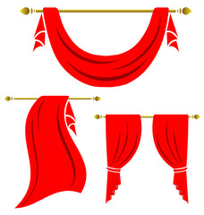 Red curtain vintage vector set on white background