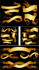 Golden scroll ribbons vector isolated