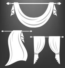 White curtain vintage vector set
