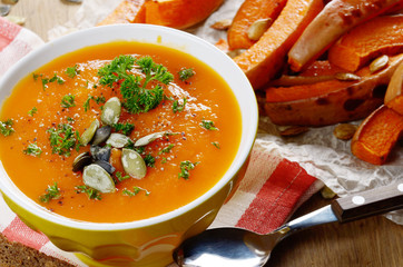 Homemade rustic pumpkin soup