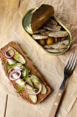 Sprat sandwich with pickled vegetables