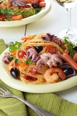 Seafood spaghetti marinara pasta dish