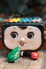 Musical retro toys on flee market