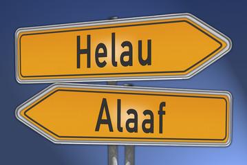 Schilder Narrenruf Helau und Alaaf