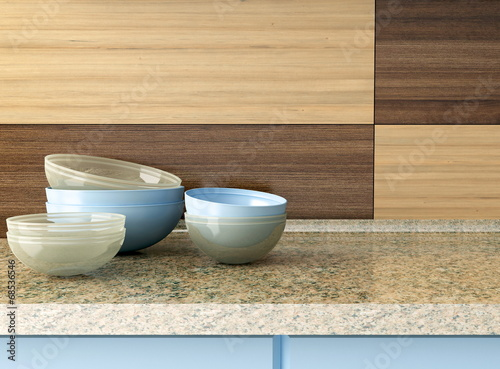 Kitchenware on the worktop. - 68536546