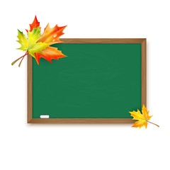 Blackboard decorated with autumn maple leaves isolated on white