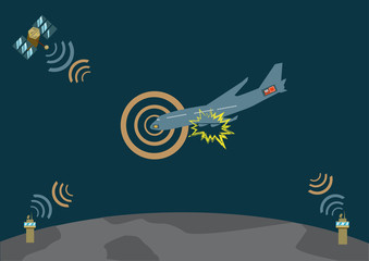Airplane explodes and crashes. Vector EPS10 illustration