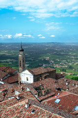 View from a tower of italian city in Langhe, Unesco heritage