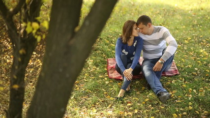 Couple Sitting Under Falling Leaves 2