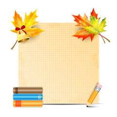 Sheet of paper decorated with autumn leaves of maple and school