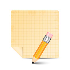 Sheet of paper and pencil isolated on white background