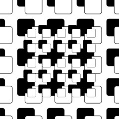 Abstract seamless pattern of black and white squares
