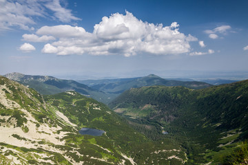 Summer mountains - valley with lake. West Tatras, Slovakia.