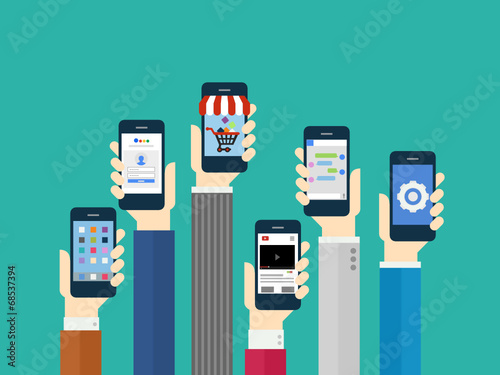 Mobile Application Concept - Flat Design poster