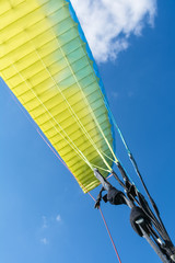close-up of paragliding wing