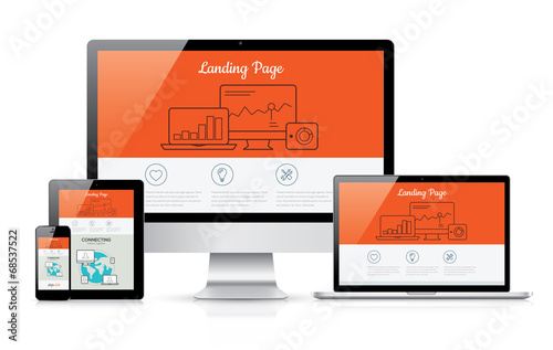Responsive landing page development vector template illustration - 68537522