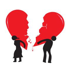 Divorce Heartache Concept. Couple carries broken heart