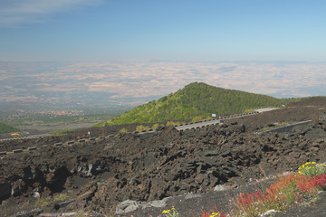 Volcano's slope and valley. Etna, Sicily, Italy
