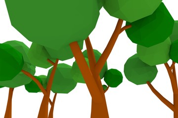 three-dimensional low-poly trees,