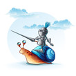 Illustration funny knight on the cochlea