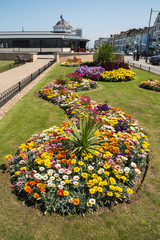 Swirl of a pretty flowerbed in Herne Bay, Kent, UK