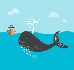 Fishing boat with Whale Vector EPS10 and raster