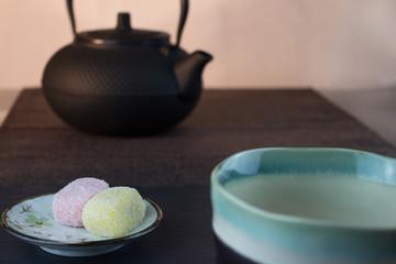 Reiskuchen, Teekanne mitt Teeschale