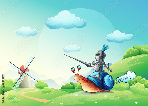 Illustration merry knight attacking the mill on the cochlea - 68538127